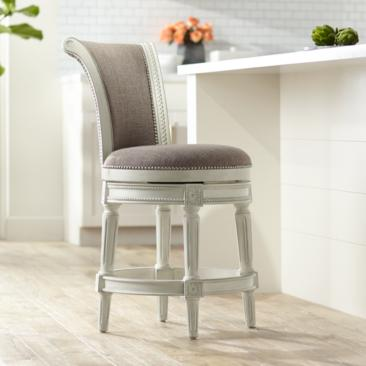 "Oliver 24 1/2"" Pewter Scroll Back Swivel Counter Stool"