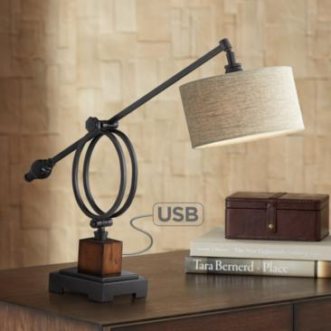 Uttermost Henley Boom Desk Lamp with USB Port