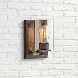 "Buford 8"" High Wood-Accented Bronze Rustic Wall Sconce"
