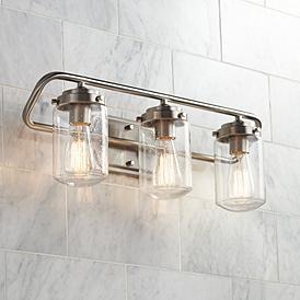 Brushed Nickel 19 24 In Wide Bathroom Lighting Lamps Plus