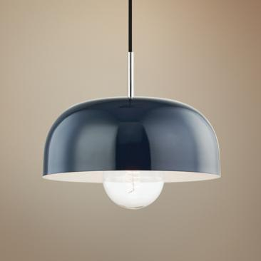 "Mitzi Avery 14""W Polished Nickel Pendant Light w/ Navy Shade"