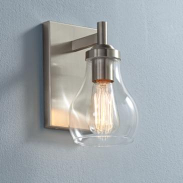 "Possini Euro Danvers 8"" High Brushed Nickel Wall Sconce"