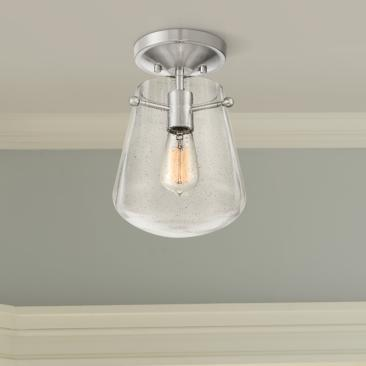 "Aurelien 8"" Wide Glass and Brushed Nickel Ceiling Light"