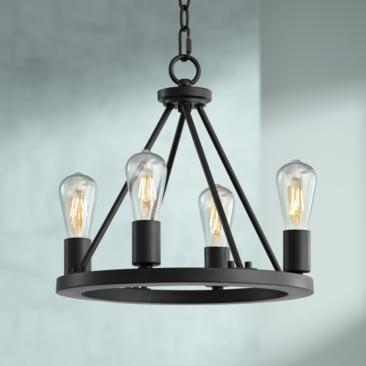 "Lacey 16"" Wide Black 4-Light LED Round Chandelier"