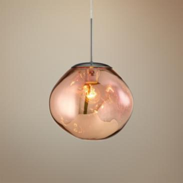 "Bankwell 10 1/2"" Wide Pearlized Copper Orb Mini Pendant"