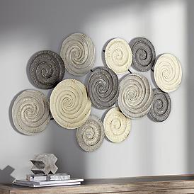 Spiral Circles 49 1 2 Wide Painted Metal Wall Art