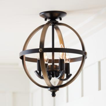 Kimpton Wood Grain and Bronze 4-Light Ceiling Light