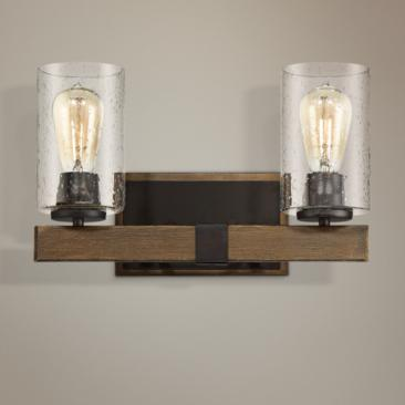 "Poetry 15"" Wide Wood Grain 2-Light Wall Sconce"