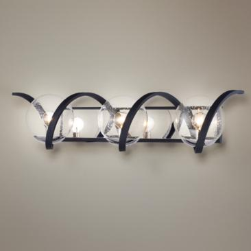 "Curlicue 30"" Wide Black and Nickel 3-Light Bath Light"