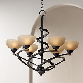Franklin Iron Works 27 1 2W Dark Mocha Ribbon Chandelier