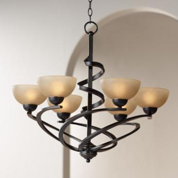 "Franklin Iron Works 27 1/2""W Dark Mocha Ribbon Chandelier"