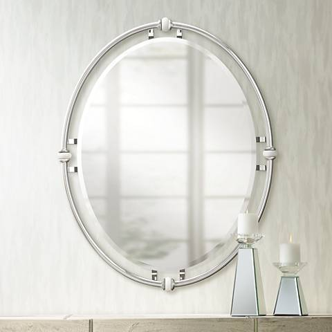 "Pocelona White Porcelain Accented Chrome 24"" x 30"" Mirror"