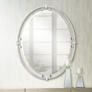 "Pocelona White Porcelain and Chrome 24"" x 30"" Wall Mirror"
