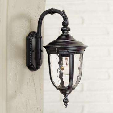 "Bellagio 16 1/2"" High Black Downbridge Outdoor Wall Light"