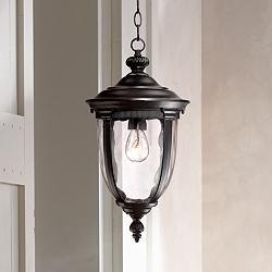 "Bellagio 18"" High Texturized Black Outdoor Hanging Light"