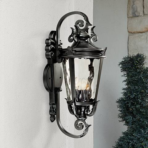 "Casa Marseille™ 31"" High Large Black Outdoor Wall Light"