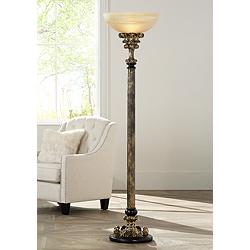 Florencio Antique Gold Torchiere Floor Lamp