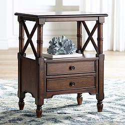 "Tamryn 24"" Wide Brown Cherry 2-Drawer Accent Table"