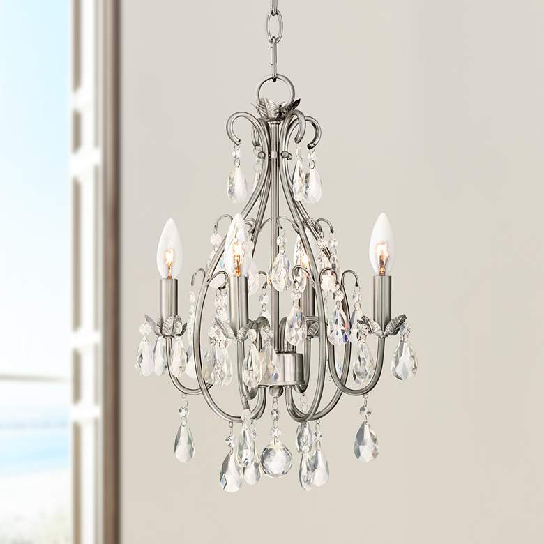 "Kathy Ireland Hollis 15""W Crystal Swag Plug-In Chandelier"