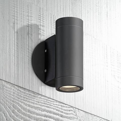 Possini euro design black outdoor led up and down wall light possini euro design black outdoor led up and down wall light aloadofball Image collections