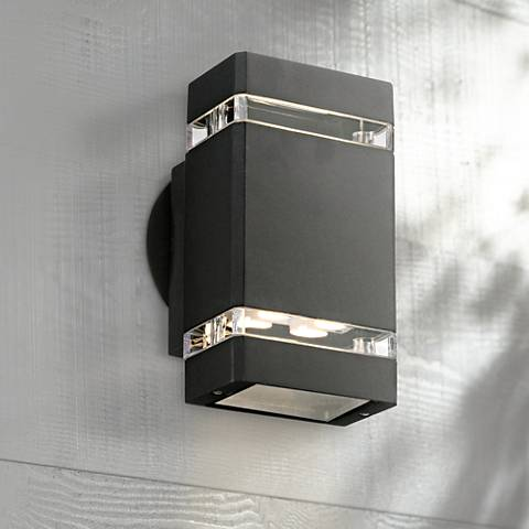 "Possini Euro Black 8"" High LED Up/Down Outdoor Wall Light"