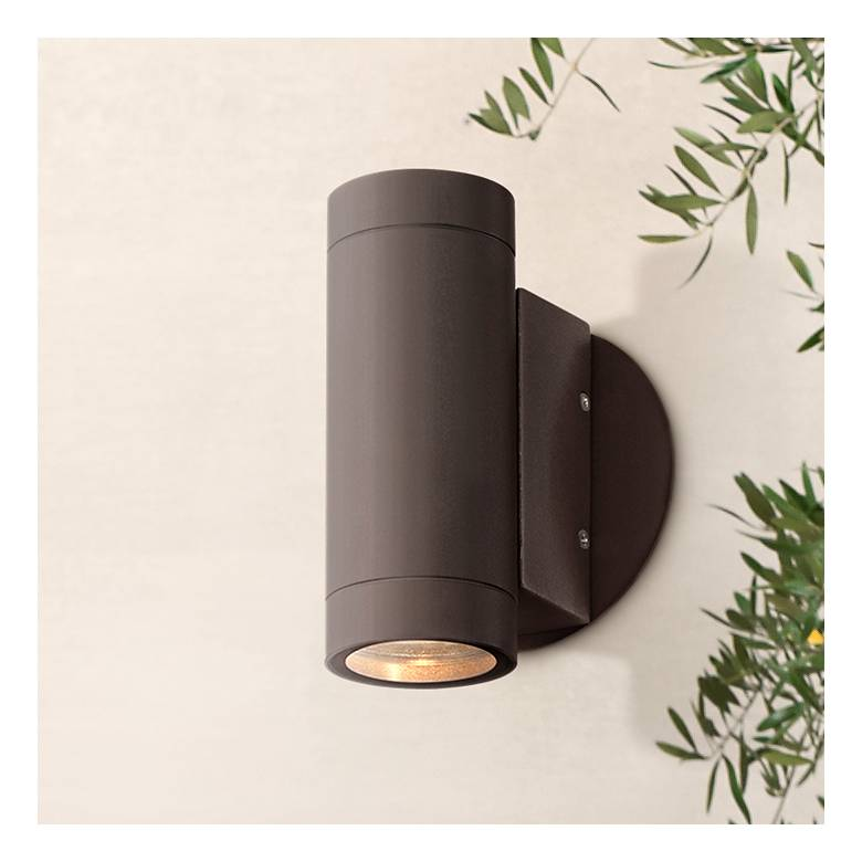 Possini Euro Design Matte Bronze Up and Down Wall Light