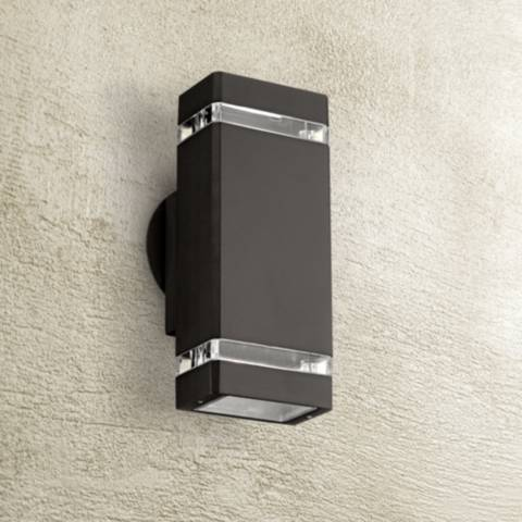 Possini Euro Rectangular Bronze Up Down Outdoor Wall Light