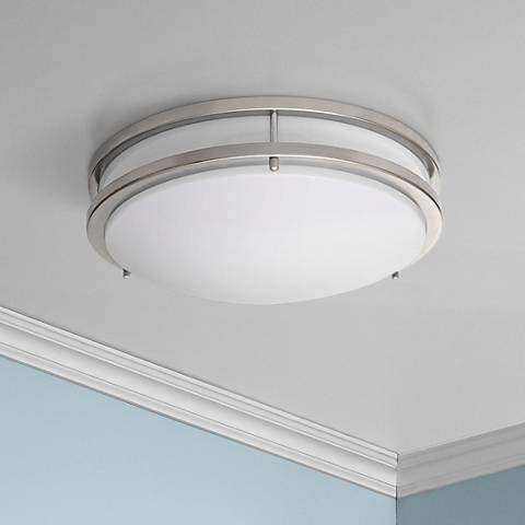 "Zaire Brushed Nickel 17"" Wide Cool White LED Ceiling Light"