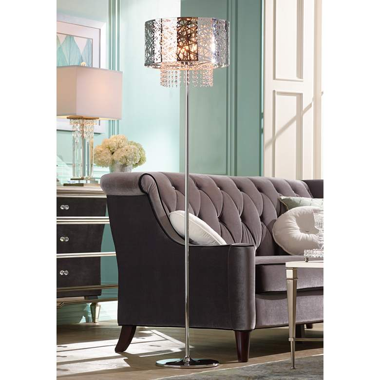 Possini Euro Chrome Nest Crystal Chandelier Floor Lamp