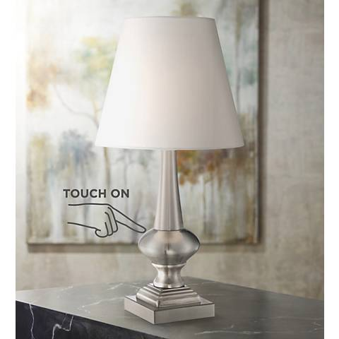 "Brushed Steel Finish 19"" High Touch On-Off Table Lamp"