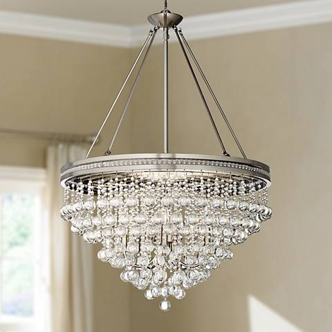 "Regina Brushed Nickel 28"" Wide Crystal Ceiling Light"