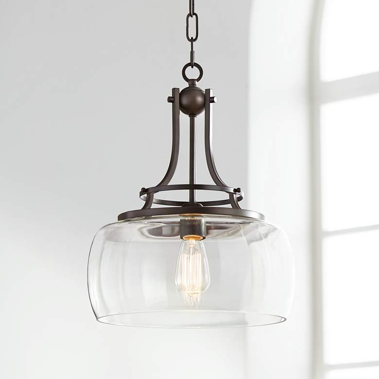 "Lighting Products: Charleston 13 1/2"" Wide Clear Glass And Bronze Pendant"
