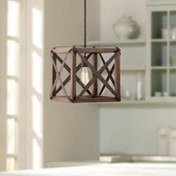 "Oaklyn 13"" Wide Rust and Brown Wood LED Pendant Light"