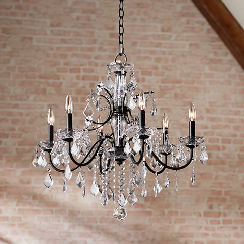 "Beverly 26"" Wide Bronze Frame Clear Crystal Chandelier"