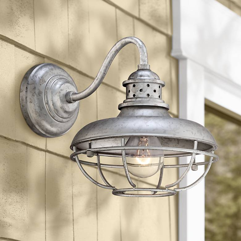 "Franklin Park 13"" High Galvanized Steel Outdoor Wall Light"