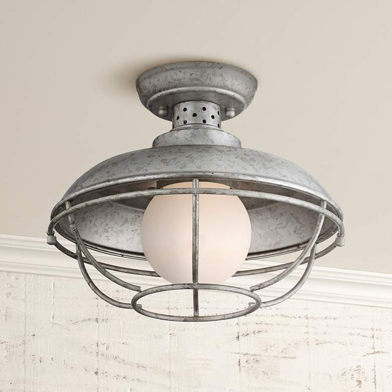 Franklin Park 13 W Galvanized Steel Outdoor Ceiling Light