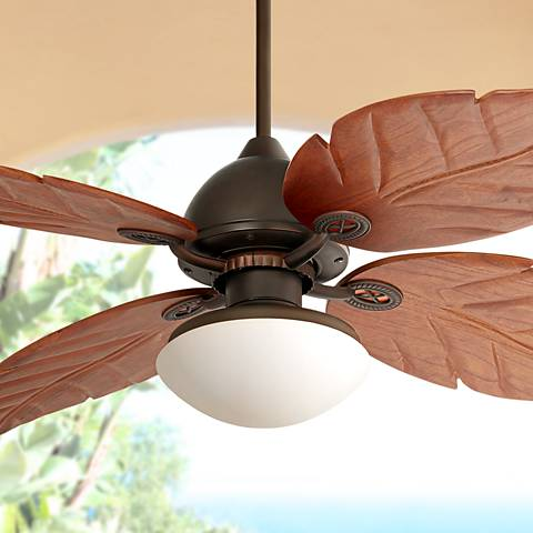 "60"" Casa Vieja Oak Creek White Glass Damp-Rated Ceiling Fan"