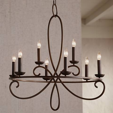 "Foxvale 26 1/2"" Wide Dark Bronze Steel Chandelier"