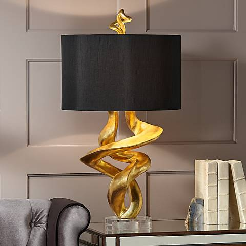 Kathy ireland tribal impressions gold leaf table lamp 4f937 kathy ireland tribal impressions gold leaf table lamp aloadofball Image collections
