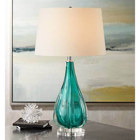 Claudette Turquoise Glass Table Lamp
