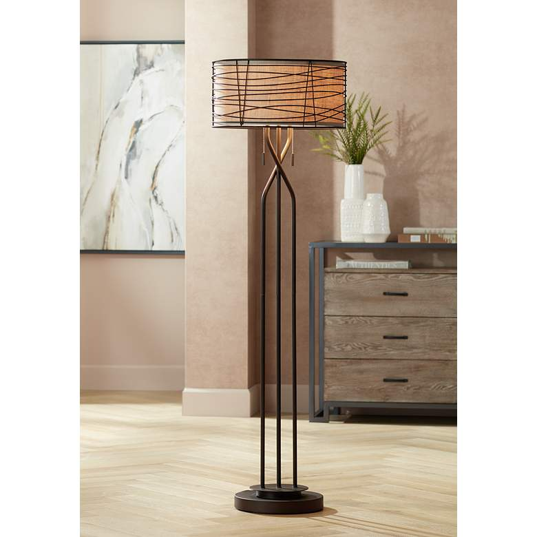 Marlowe Bronze Woven Metal Floor Lamp by Franklin Iron Works