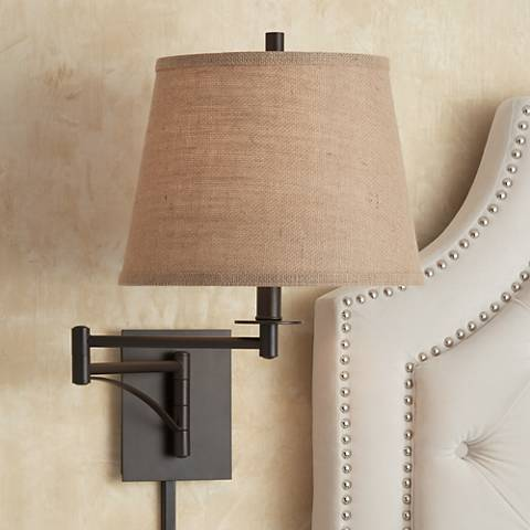 Brinly Burlap Shade Brown Plug In Swing Arm Wall Lamp 4h013