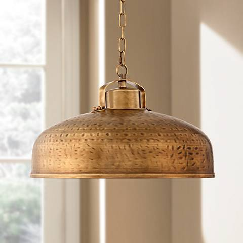 "Essex 18"" Wide Dyed Brass Metal Pendant Light"