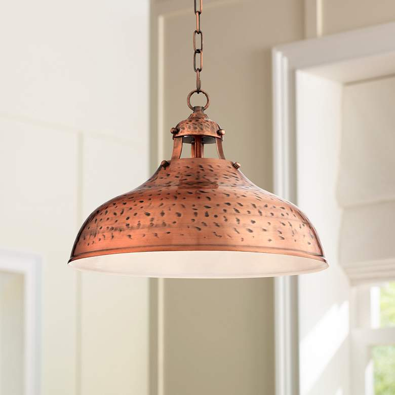 Es 16 Wide Dyed Copper Metal Pendant Light