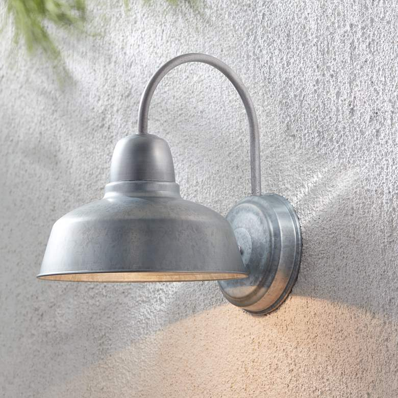 Urban Barn 13 High Galvanized Steel Outdoor Wall Light 4m534 Lamps Plus