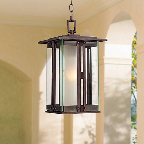 "Fallbrook Collection 15 3/4""H Bronze Outdoor Hanging Lantern"