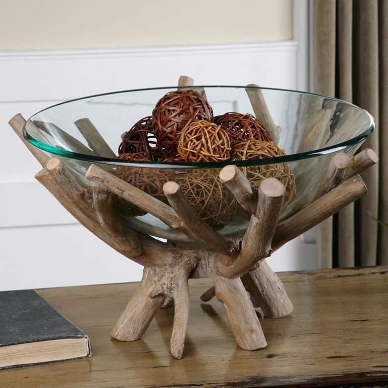 "Thoro 20"" Wide Rustic Natural Wood Clear Glass Bowl"