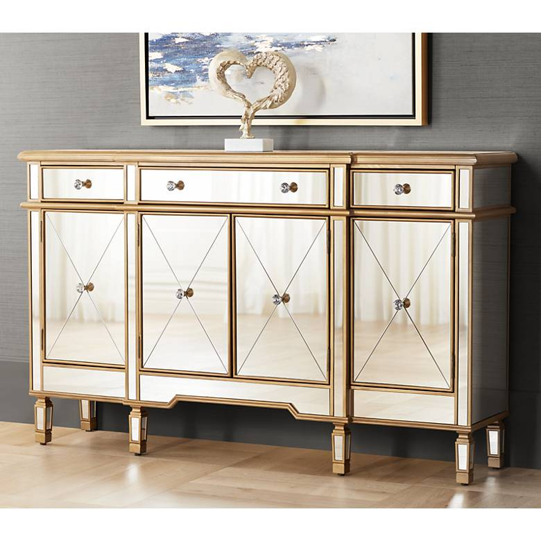 "Bailey 60"" Wide 4-Door Gold Mirrored Buffet Console"