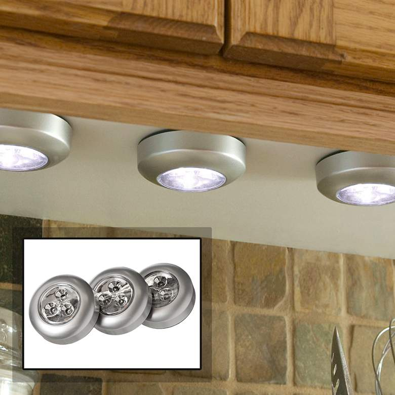 Fulcrum Set Of 3 Puck Led Silver Stick On Cordless Lights