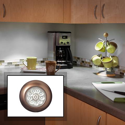 Fulcrum LED Anywhere XB Bronze Stick-On Cordless Puck Light